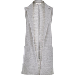Girls grey ribbed sleeveless blazer