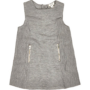 Mini grey ribbed shift dress