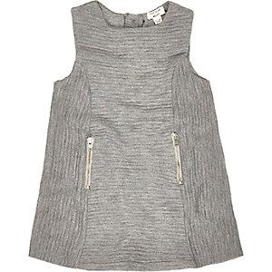 Mini grey ribbed shift dress