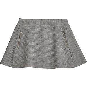 Mini girls grey ribbed skater skirt