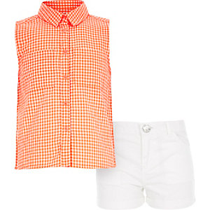 Girls orange gingham shirt and shorts outfit