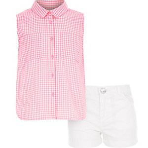 Girls pink gingham shirt and shorts outfit