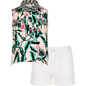 Girls tropical print shirt and shorts outfit
