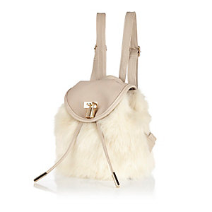 Girls cream faux-fur backpack