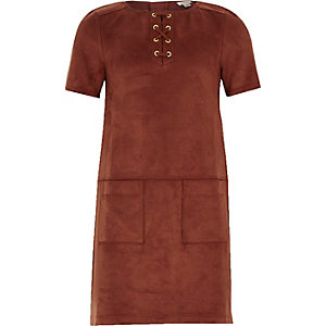 Girls brown faux-suede shift dress