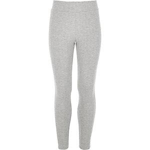 Girls grey textured leggings