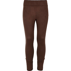 Girls brown faux suede leggings