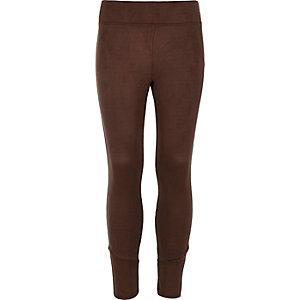 Girls brown faux suede leggings