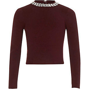 Girls berry red embellished neck sweater