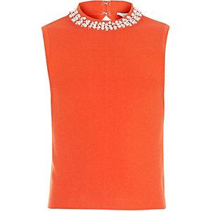 Girls orange embellished neck top