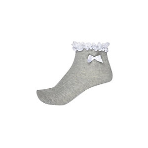 Girls grey frill bow socks