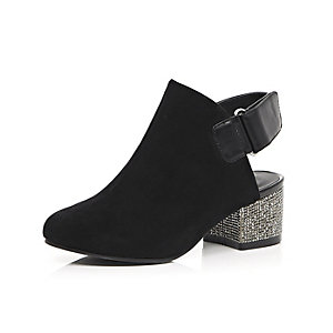 Girls black embellished heel shoes