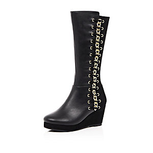 Girls black whipstitch wedge boots