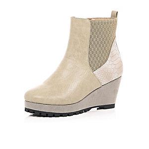 Girls cream wedge boots