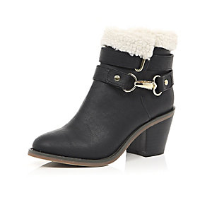 Girls black borg-lined ankle boots