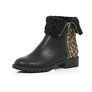 Girls black animal print biker boots