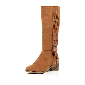 Girls brown fringed knee high boots