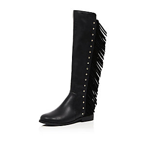 Girls black fringed knee high boots