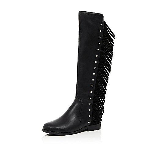 Girls black fringed knee high boots