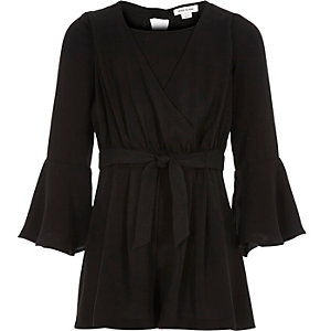 Girls black wrap front jumpsuit