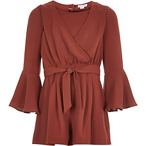 Girls brown wrap-front playsuit
