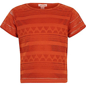 Girls orange lace fitted t-shirt
