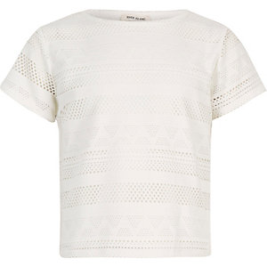 Girls cream lace fitted t-shirt