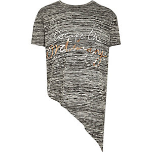 Girls grey slogan asymmetric top