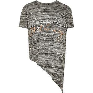Girls grey slogan asymmetric top