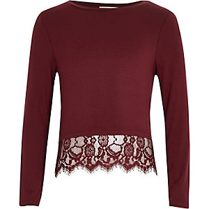 Girls dark red lace hem t-shirt