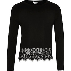 Girls black lace hem t-shirt