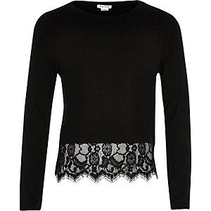 Girls black lace hem t-shirt