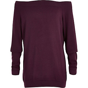 Girls purple soft bardot top