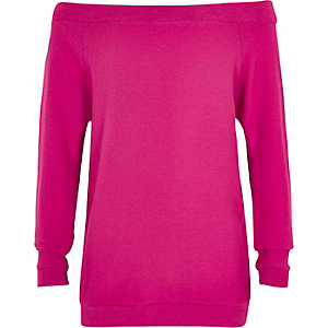 Girls bright pink soft bardot top
