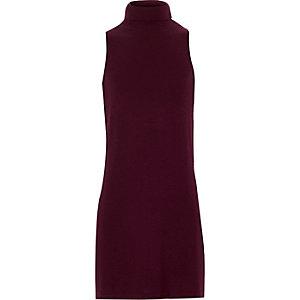 Girls plum purple roll neck longline tunic