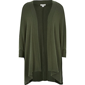 Girls khaki super soft throw-on cardigan