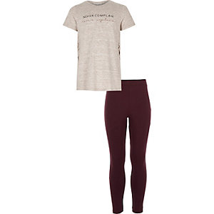 Girls beige side split t-shirt legging outfit