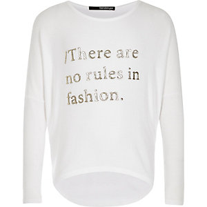 Girls white fashion rules slogan top