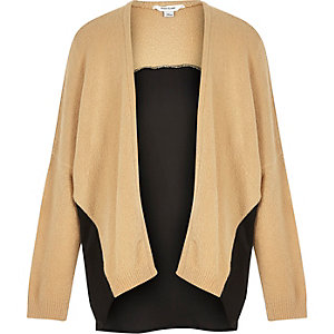 Girls camel chiffon-back cardigan