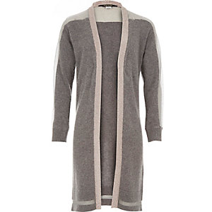 Girls grey longline metallic trim cardigan