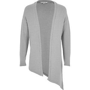 Girls grey knit asymmetric cardigan