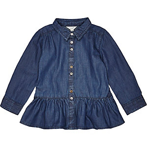 Mini girls blue peplum shirt