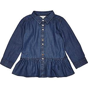 Mini girls blue peplum shirt