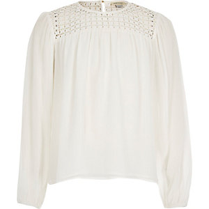 Girls white lace neck blouse