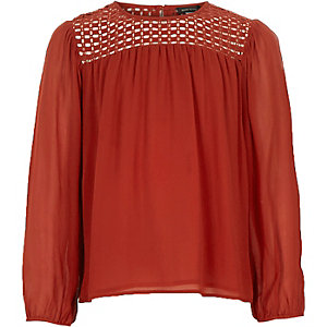 Girls rust brown lace neck blouse