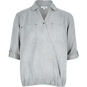 Girls grey wrap front shirt