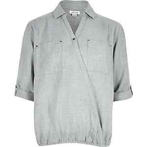 Girls grey wrap front shirt