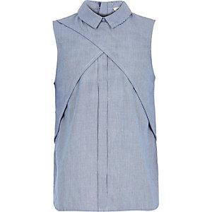 Girls blue stripe sleeveless blouse