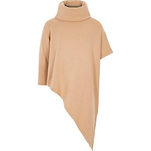 Girls beige asymmetric jumper