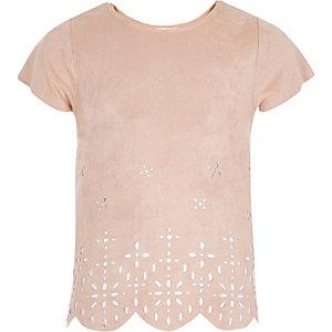 Girls link faux-suede laser cut t-shirt